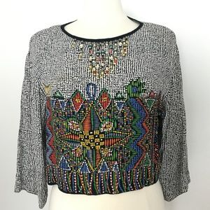 Vintage Geometric Boho Top Beaded Crop 80s 90s M